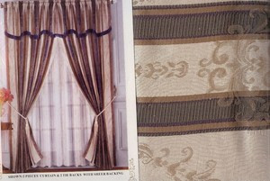 Window Curtains/Drapes with attached Valance +Liner SET