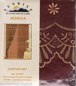 Window Curtains /Drapes attached Valance Liner - Burgundy