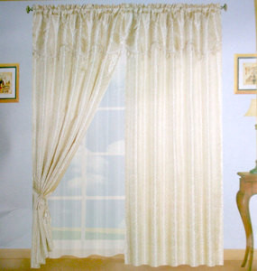 Window Curtains / Drapes with attached Valance & Liner - Beige 480