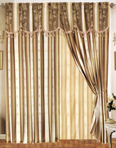 Window Curtains / Drapes with attached Valance & Liner - Beige