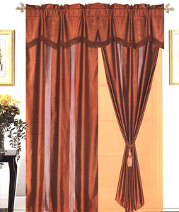 Window Curtains / Drapes with attached Valance & Liner - Burgundy 464