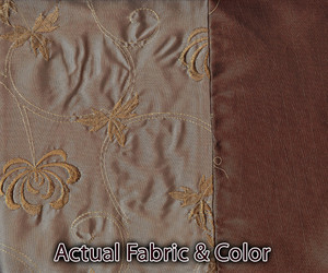 Window Curtains / Drapes with attached Valance & Liner - Beige & Brown