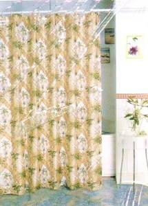 PALM TREE FABRIC SHOWER CURTAIN +12 CERAMIC HOOKS - NEW