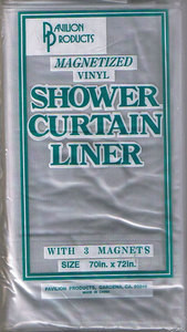 Magnetized VINYL Shower Curtain Liner Clear color - NEW