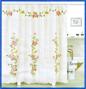 EMBROIDERED FABRIC SHOWER CURTAIN +VALANCE +VINYL LINER
