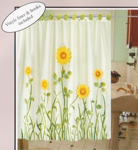 EMBROIDERED FABRIC SHOWER CURTAIN +VALANCE +VINYL LINER 428