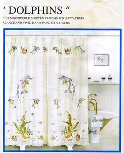 EMBROIDERED FABRIC SHOWER CURTAIN +VALANCE +VINYL LINER 427