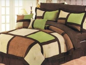 Queen Faux Suede Patchwork Bed in a Bag 10 pc. Comforter / Bedding Set - Sage 350522108462