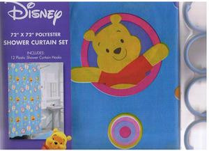 Winnie The Pooh & Tigger FABRIC SHOWER CURTAIN+12 RINGS
