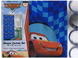 NEW DISNEY PIXAR CARS FABRIC SHOWER CURTAIN + 12 RINGS