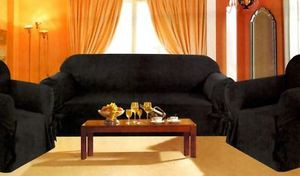 3 pc. Sofa Loveseat Chair Slipcovers Micro Suede -Black