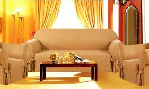 3p.Sofa Loveseat Chair Slipcovers Micro Suede-Beige/Tan