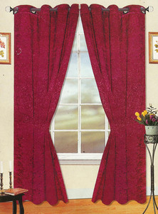 Window Rings Curtains/Drapes Set w/ TieBacks - Burgundy