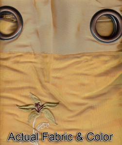 Window Rings Curtains / Drapes Set w/ Tie Backs  - Gold