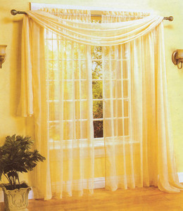 Window Curtains/Drapes Voile Sheer 2pc Panels+1pc Scarf