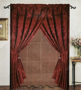 Window Curtains / Drapes with Valance & Liner -Burgundy