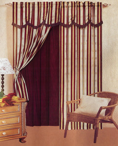 Window Curtains / Drapes with attached Valance & Liner