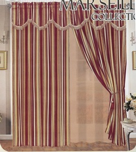 Window Curtain/Drape w/attached Valance &Liner Burgundy