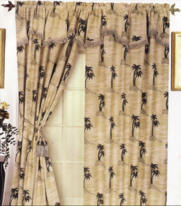 Palm Tree Heavy Duty Window Curtains / Drapes   Beige