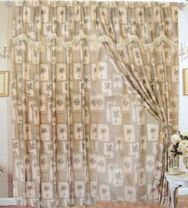 NEW  Palm Tree  Curtains / Drapes - Beige + Green Palms