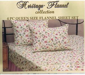 QUEEN 2009 New Collection FLANNEL 4 pc Cotton SHEET SET 170