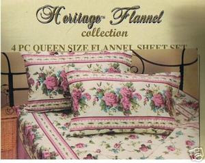 QUEEN 2009 New Collection FLANNEL 4 pc Cotton SHEET SET 168