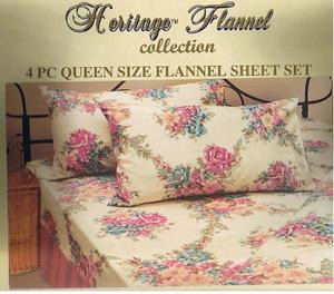 QUEEN 2009 New Collection FLANNEL 4 pc Cotton SHEET SET
