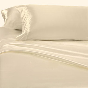 BEIGE SATIN SILKY 4 pc. SHEET SET QUEEN SIZE SOFT - NEW