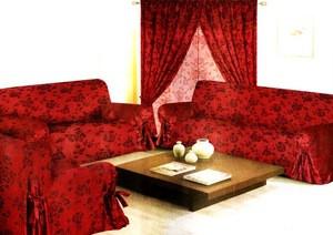 Sofa slip cover REVERSIBLE Slipcover FIT set - Burgundy