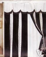 Window Curtains / Drapes with attached Valance & Liner - Black & White
