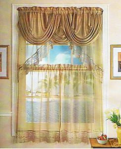 Kitchen Voile Curtain + Silk Satin Valance - Gold