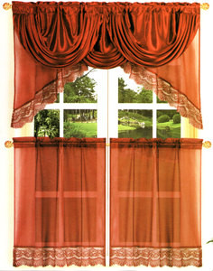 Kitchen Voile Curtain + Silk Satin Valance - Burgundy
