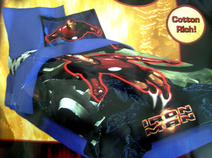 New - Twin Marvel Iron Man Comics Comforter Set 3 pc