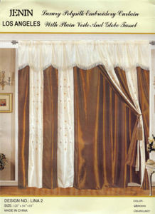 Window Taffeta Curtains/Drapes Set+Valance+Liner -Brown 1087