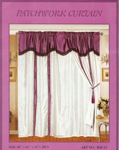 Window Taffeta Curtains/Drapes Set+Valance+Liner-Purple