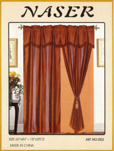 Window Taffeta Curtains/Drapes Set+Valance+Liner -Brown