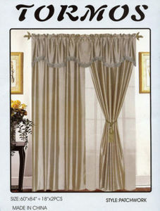 Window Taffeta Curtains/Drapes Set+Valance+Liner - Sage