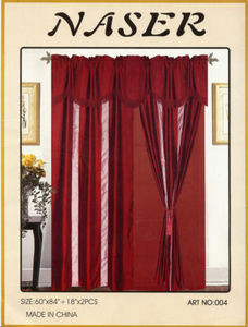 Window Taffeta Curtains/Drapes +Valance+Liner -Burgundy
