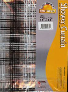 Transparent Black & White Vinyl Shower Curtain+12 Rings