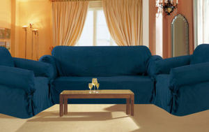 3 pc. Sofa Loveseat Chair Slipcovers Micro Suede - Navy