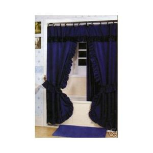 NAVY -Double Swag Fabric Shower Curtain +Valance +Liner