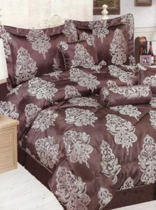KING Jacquard Bed in a Bag 7 pc. Comforter Set - Brown