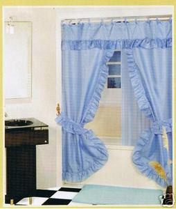 L. BLUE-Double Swag Fabric Shower Curtain+Valance+Liner