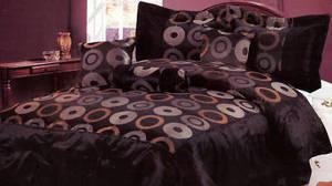 KING Bed in a Bag 7 pc. Comforter Bedding Set - Black