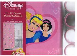 "Disney ""Princess"" Pink Fabric Shower Curtain + 12 Rings"