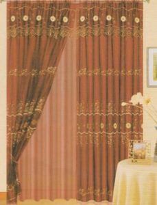 Burgundy Window Curtains / Drapes Set + Valance + Liner