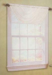 2pc White Semi-sheer / Voile Valance with Tassels