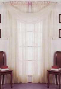 2 Panels 1 Scarf Voile Sheer Curtains Drapes Set -Beige