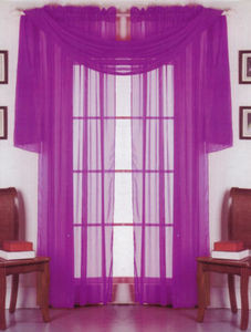 2 Panels 1 Scarf Voile Sheer Curtains Drapes Set-Purple