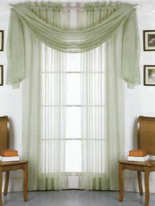 2 Panels 1 Scarf Voile Sheer Curtains Drapes Set - Sage